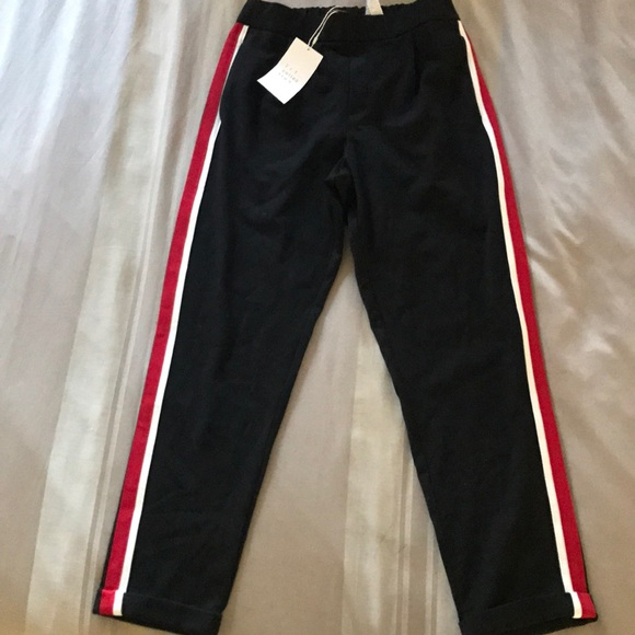 Zara Pants Black With Red And White Side Stripe Poshmark